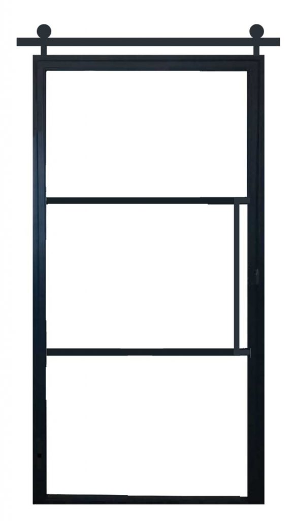 Ferro Cosmos Black aluminium schuifdeur – 3 glasverdelingen – Vierkante trekker