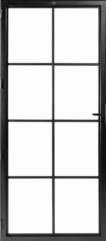 STALEN DEUR MODERN 3 – met glasverdelingen + deurkruk – dagmaat 2326X1000