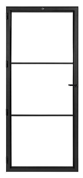 STALEN DEUR MODERN 3 – met glasverdelingen + deurkruk – dagmaat 2026X800