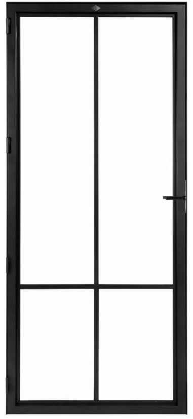STALEN DEUR MODERN 4 – met glasverdelingen + deurkruk – dagmaat 2526X1000