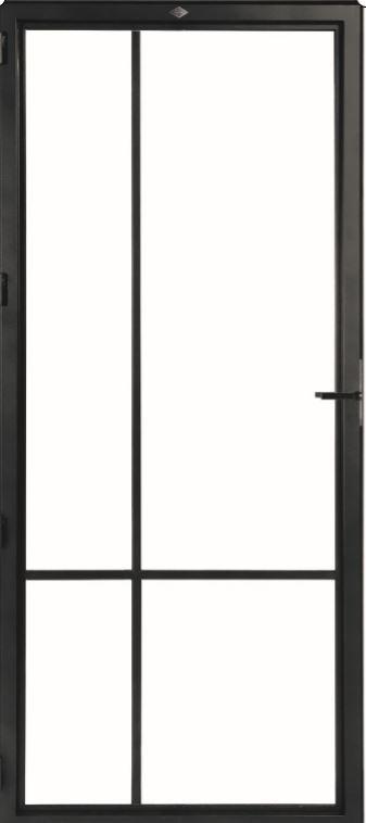 STALEN DEUR MODERN 4E – met glasverdelingen + deurkruk – dagmaat 2526X1000