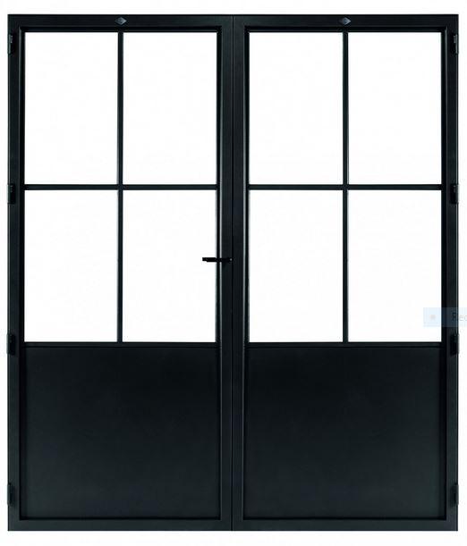 STALEN DEUR CLASSIC 4 DUO- met glasverdelingen + deurkruk – dagmaat 2026X1560