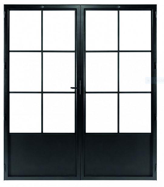 STALEN DEUR CLASSIC 6 DUO – met glasverdelingen + deurkruk – dagmaat 2126X1560