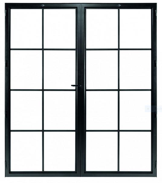 STALEN DEUR CLASSIC 8 DUO – met glasverdelingen + deurkruk – dagmaat 2126X1560