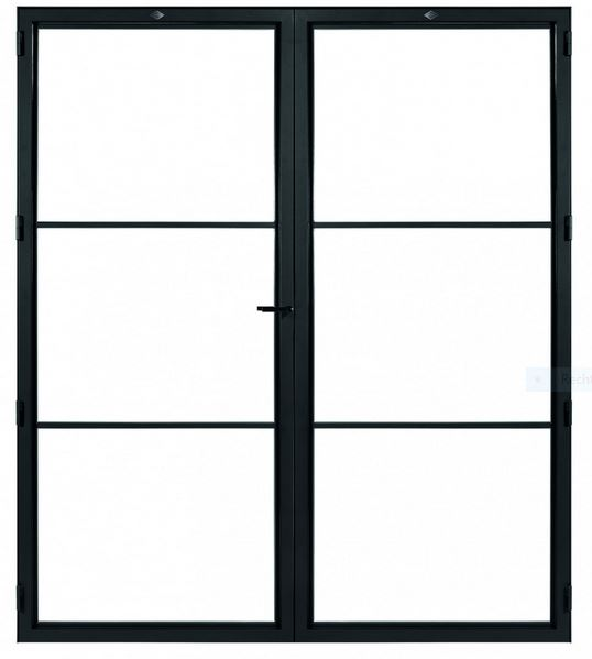 STALEN DEUR MODERN 3 DUO – met glasverdelingen + deurkruk – dagmaat 2326X1960