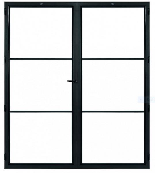 STALEN DEUR MODERN 3 DUO- met glasverdelingen + deurkruk – dagmaat 2026X1560