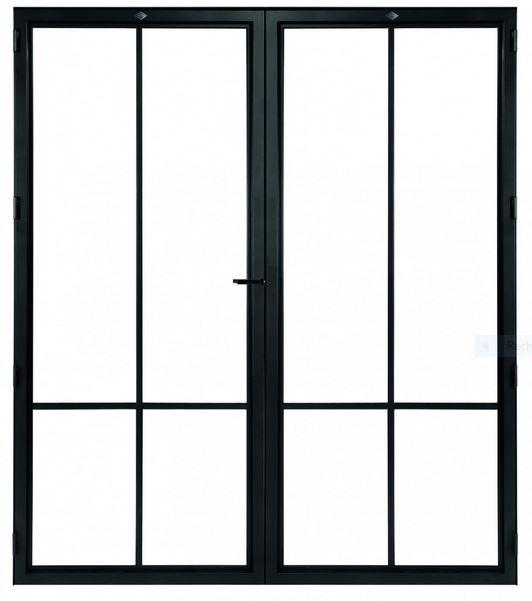 STALEN DEUR MODERN 4 DUO- met glasverdelingen + deurkruk – dagmaat 2126X1560