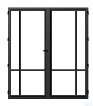 STALEN DEUR MODERN 4E DUO- met glasverdelingen + deurkruk – dagmaat 2126X1560